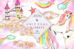 Glam Watercolor Unicorn illustration Clipart Drawberry CP068 Product Image 1