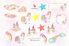 Glam Watercolor Unicorn illustration Clipart Drawberry CP068 Product Image 2