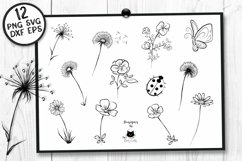 Black and White Flower Clipart | Mothers Day Floral SVG Product Image 2