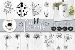Black and White Flower Clipart | Mothers Day Floral SVG Product Image 1