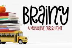 Brainy - A monoline curly mixed case font Product Image 1