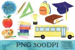 School Watercolor PNG Clipart Bundle| Graduation Designs Product Image 1