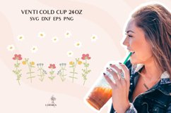 Floral svg, Venti cold cup svg 24 oz, full wrap template svg Product Image 3