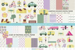 Village vacations digital papers | Summer holidays printable Product Image 3