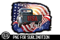 USA Y'all - Vintage Truck - PNG for Sublimation Product Image 1
