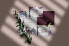 Burgundy peonies watercolor clipart set Product Image 5