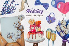 Lavender wedding watercolor hand-painted clipart PNG Element Product Image 1