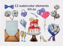 Lavender wedding watercolor hand-painted clipart PNG Element Product Image 2