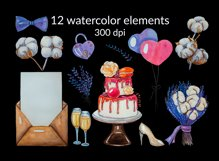 Lavender wedding watercolor hand-painted clipart PNG Element Product Image 3
