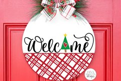Welcome with Christmas Tree and Plaid SVG | Winter Door Hang Product Image 1