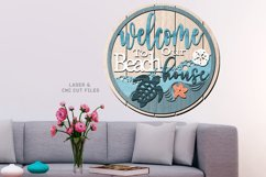 Shiplap Beach House Round Turtle Sign SVG Glowforge Files Product Image 3