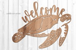 Welcome Sea Turtle Sign SVG Glowforge File Laser Cut Files Product Image 2