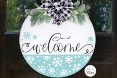Welcome with Snowflake Half Round SVG   Winter Design Product Image 1