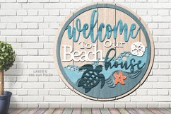 Shiplap Beach House Round Turtle Sign SVG Glowforge Files Product Image 2