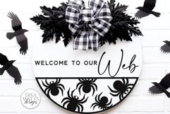 Welcome To Our Web   Halloween Spider Round Sign Design Product Image 1