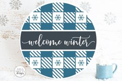 Welcome Winter Plaid SVG   Christmas Round Design Product Image 1