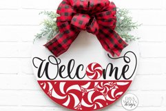 Welcome With Peppermint Round SVG | Christmas / Winter SVG Product Image 1