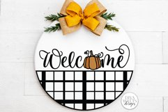 Welcome With Pumpkin And Plaid SVG | Farmhouse Fall Door Han Product Image 3