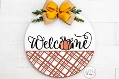 Welcome With Pumpkin And Plaid SVG | Farmhouse Fall Door Han Product Image 1