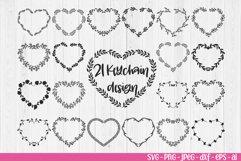 Keychain Heart patterns svg, Laurel Wreath svg, Monogram svg Product Image 2