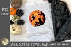 flying witch black cat sublimation design