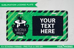Witches Brew License Plate Sublimation for Halloween in green