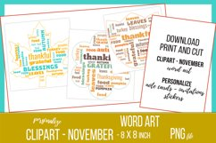 Word Clouds - Word Art - November Clipart Product Image 1