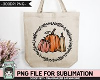 Pumpkins Wreath Sublimation design PNG, Fall, Thanksgiving Product Image 3