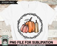 Pumpkins Wreath Sublimation design PNG, Fall, Thanksgiving Product Image 2
