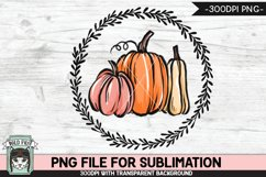Pumpkins Wreath Sublimation design PNG, Fall, Thanksgiving Product Image 1