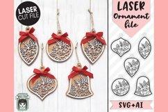 Floral Ornament Laser SVG Cut File, Christmas Laser SVG File Product Image 1