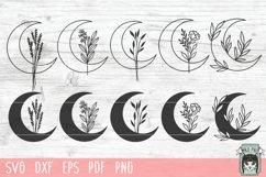 Moon Leaves Bundle SVG, Moon Floral SVG, Moon Flowers SVG Product Image 1
