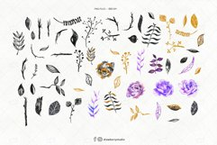 Purple Gothic Flowers Watercolor ClipArt   Drawberry CP065 Product Image 2