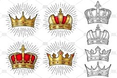 Four different king crowns. Engraving vintage color vector Product Image 2