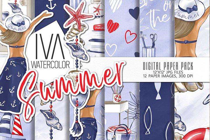 Summer, Nautical digital paper Pack, Seamless Pattern