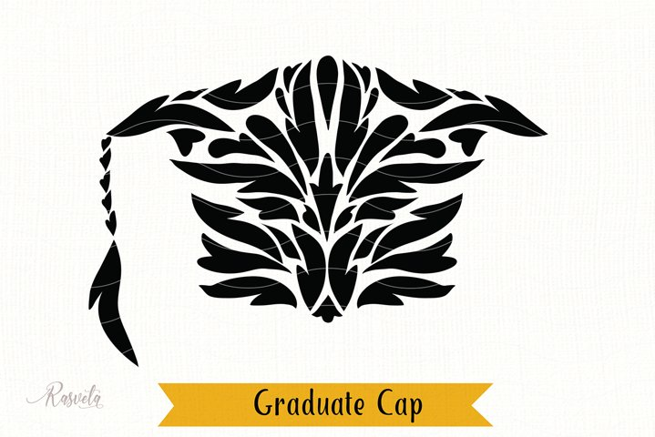 Graduate hat in a Floral ornament