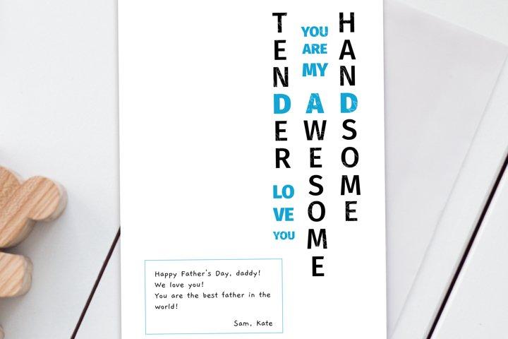 Custom Fathers Day Card, Dad Birthday card, Daddy, Digital