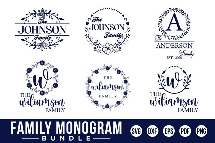Family Monogram Bundle, 14 Farmhouse Style Monogram Bundle