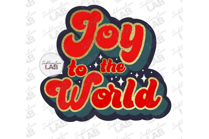 Christmas Joy To The World Retro Sublimation Design Png