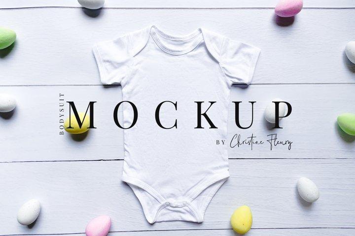 Scattered Easter Eggs Baby Bodysuit Mockup - Easter Mockup