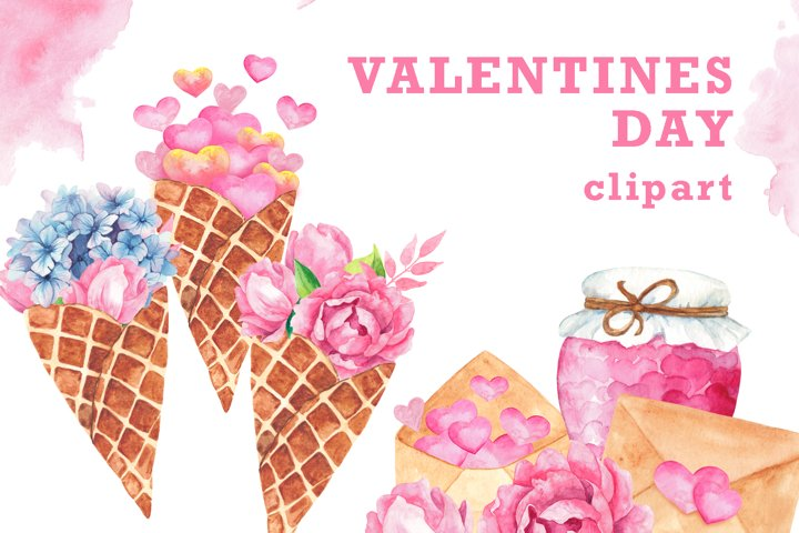 Watercolor Valentines Day Clipart PNG