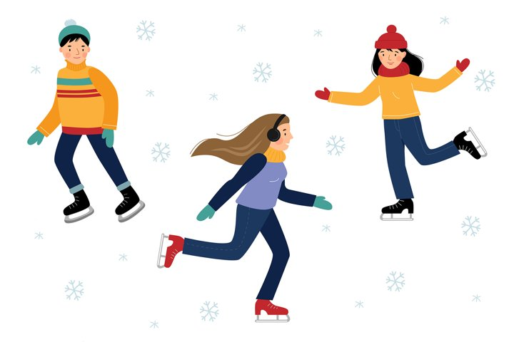Vector set with six children ice skating.