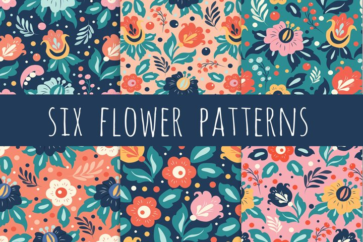 six seamless floral patterns in ethnic style