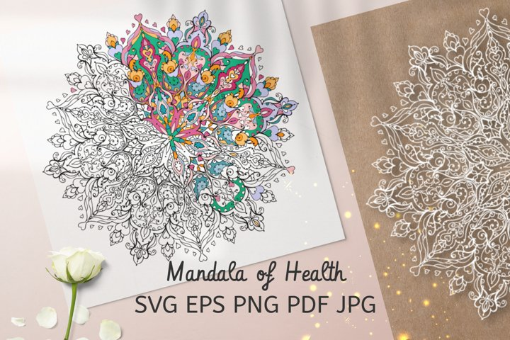 Mandala svg files for Coloring, mandala of health, antistres