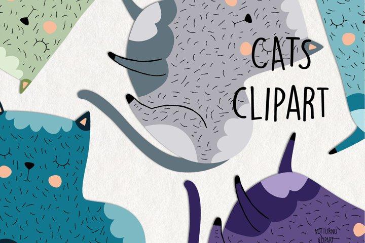 Cat SVG Clipart. Set of 15 png, svg, eps