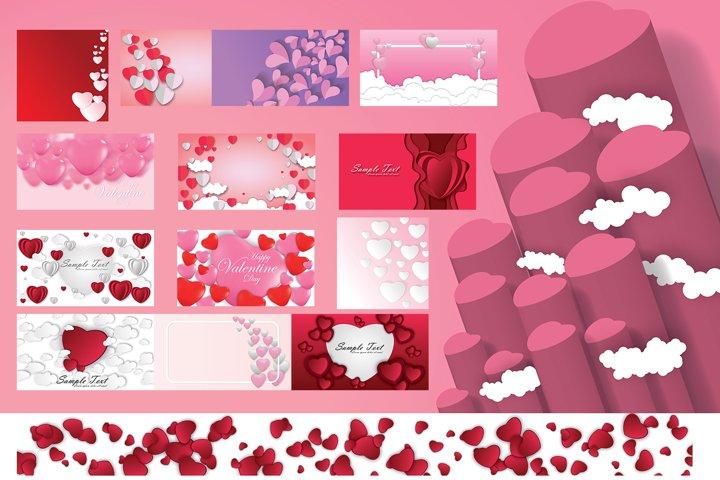 Set Valentines day background bundle. Vector design