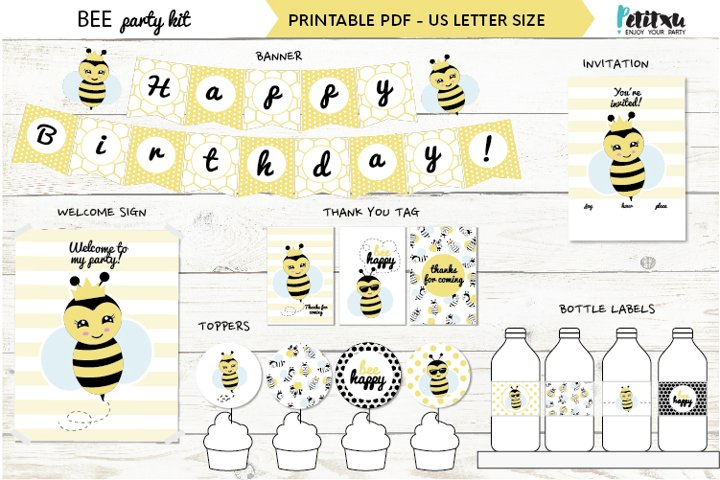 Bee themed party kit, kids party decor, bee first birthday