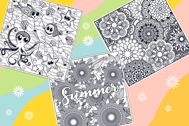 Summer Coloring Page Bundle- 10 vector items example 3