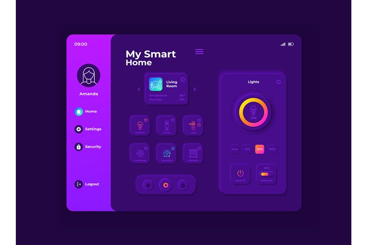 My smart home tablet interface vector template