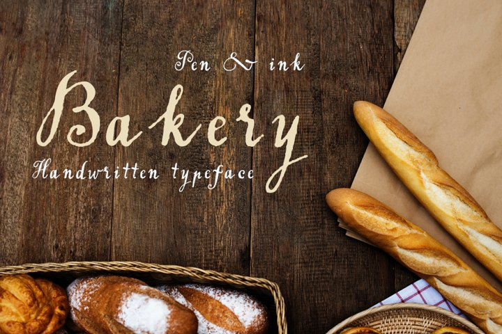 Handwritten tapeface Bakery